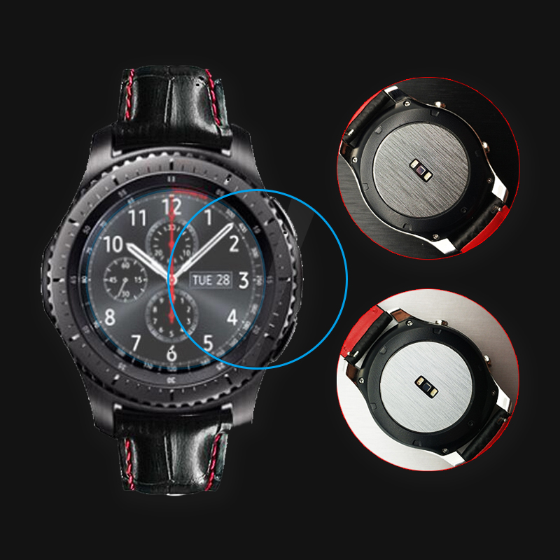 2pcs Metal Wire Back Screen Protector Film+Tempered Glass Film For Samsung Gear S3 Classic Frontier Nice With Your Watch Band asling tempered glass screen film for oneplus 6 2pcs
