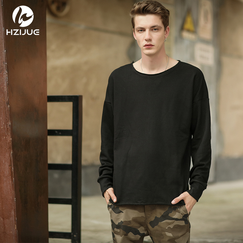 HZIJUE 2018 Oversize Hip Hop Street Men Pullover Sweatshirt Classic Long Sleeve O Neck Kanye west style peersonality loose  tees