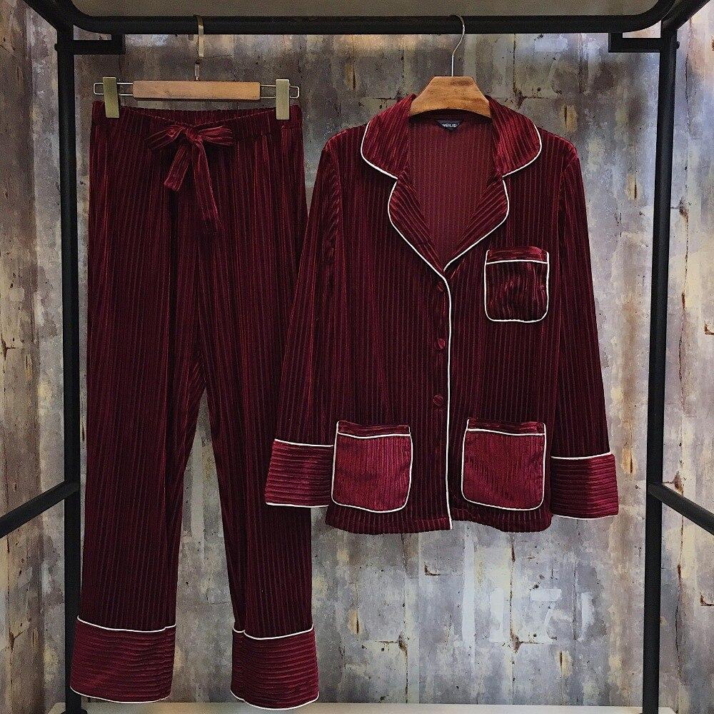 Women's pajamas set female autumn long-sleeved trousers two-piece Flannel home service Pajama Sets Sleepwear pyjamas