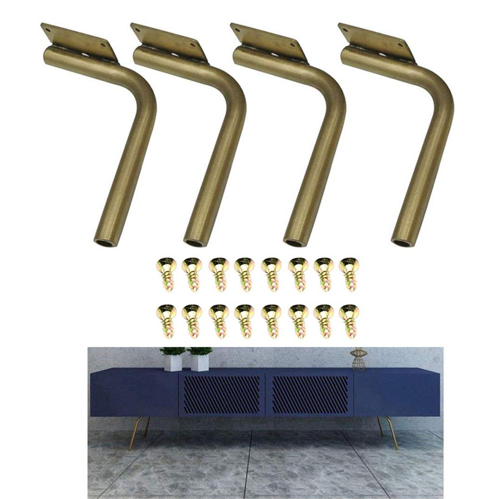 4Pcs Metal Sofa Legs, Stainless Steel Tilting Table Legs TV Cabinet Coffee Table Bed Feet Golden Furniture 18/25cm   Metal Leg