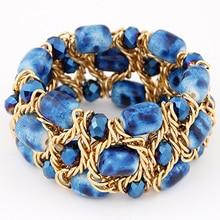 Hot sale 2017 women Bracelet With Imitation crystal Chambers of gravel gold chain weaving Charm bracelets Bangle Wristband