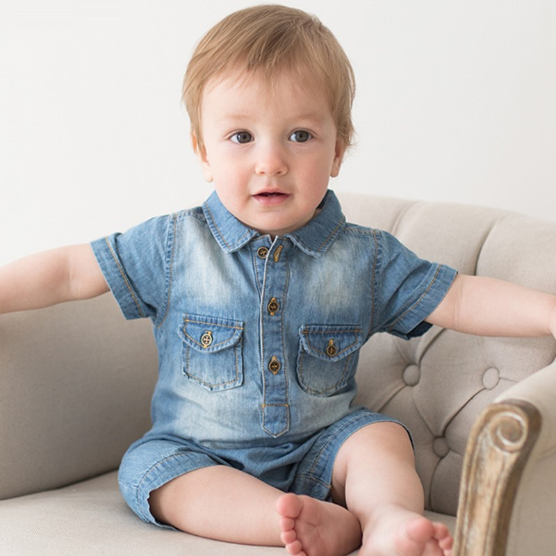 Baby Boy Clothes 2019 Autumn New Children Clohting Cute Cartoon Denim Jumpsuit Fashion Baby Clothes Crawling Boys Suit