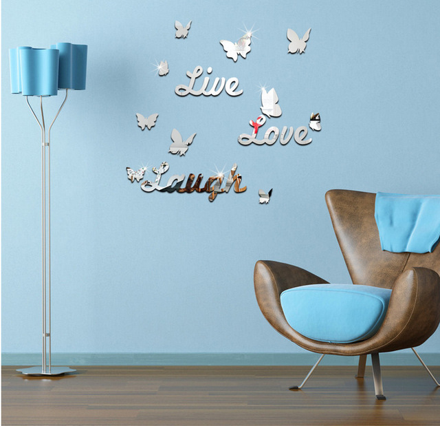 Butterfly English Letter 3D Wallpaper Mirror Wall Stickers Acrylic Living Room Bedroom TV Washroom Decoration
