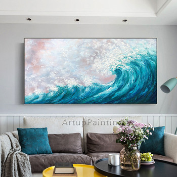 Seascape painting acrylic Palette Knife Canvas painting Abstract art Wall art Pictures for living room home decor cuadros decor