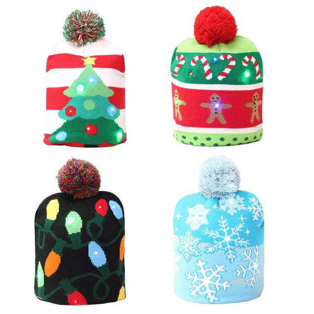 2018 Led Christmas Hat Warm Protective Cap Christmas Tree Pattern