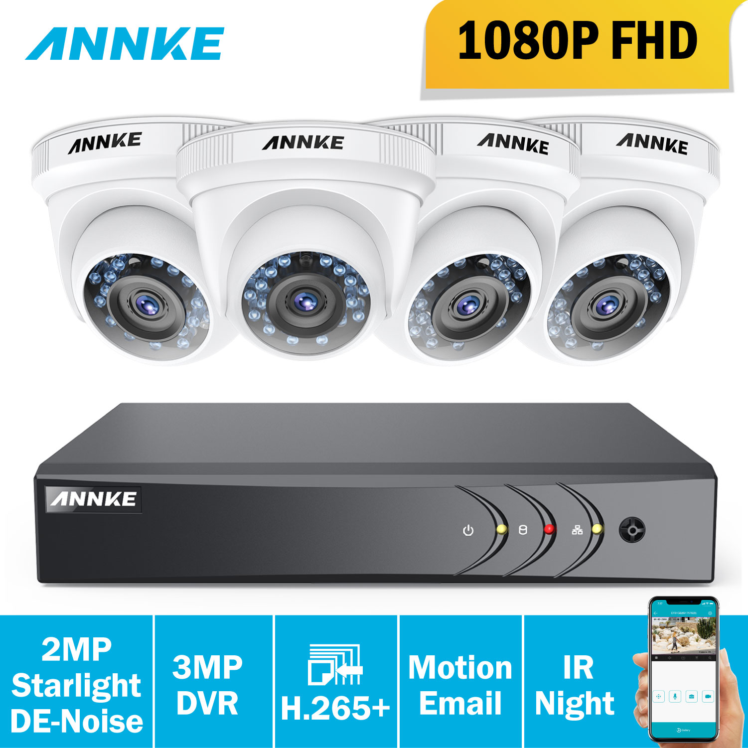 ANNKE 1080P HD Security Camera System 4CH 1080P HDMI DVR Kit with 4pcs 2MP outdoor surveillance