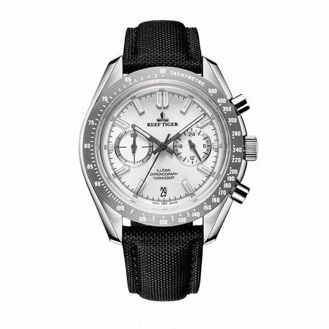 Reef Tiger Classic Serier RGA3033 Men Sport Watches with Nylon Strap Luminous Chronograph Quartz Watch