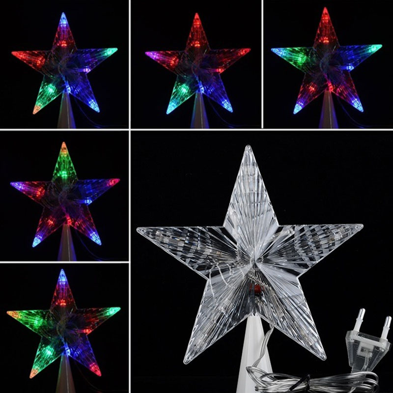 Large Christmas Tree Topper Star Lights Lamp Multi Color Indoor Outdoor Garden Decoration  Lamp WWO66