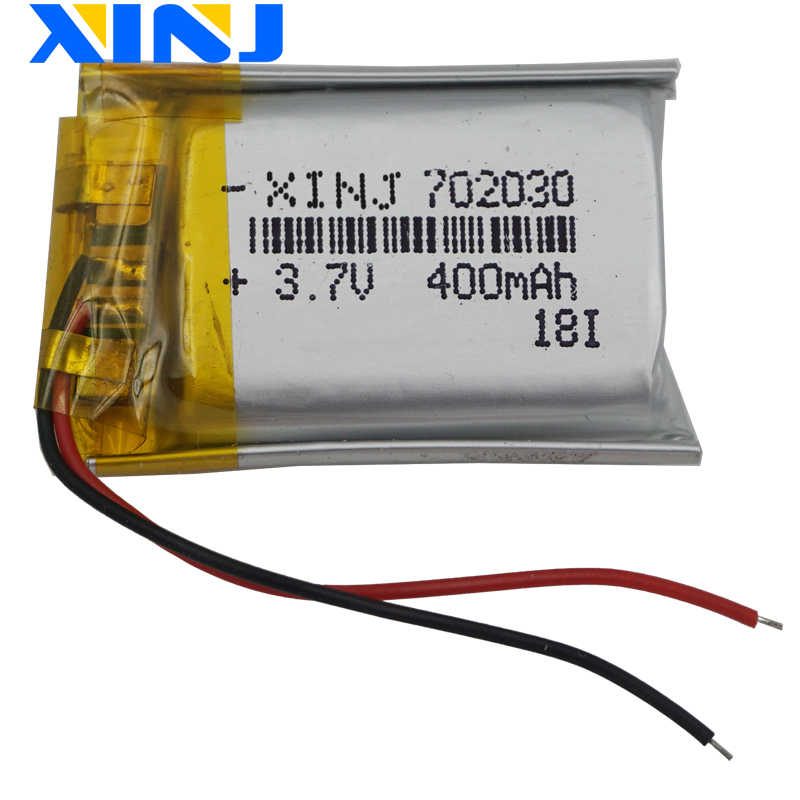 XINJ <font><b>3.7V</b></font> <font><b>400mAh</b></font> Li Polymer li-po Battery For GPS MP3/MP4 E-book bluetooth speaker wireless earphones driving recorder 702030 image