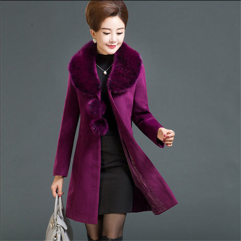 Women Winter Woolen Jacket With Faux Fur Collar Large Size Thick Warm Lapel Slim Long Coat Outwear Wool Overcoat For Mum <font><b>A2505</b></font> image