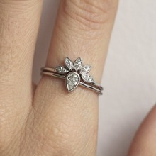 Brand Female Crystal Wedding Ring Set Luxury 925 Silver Wate