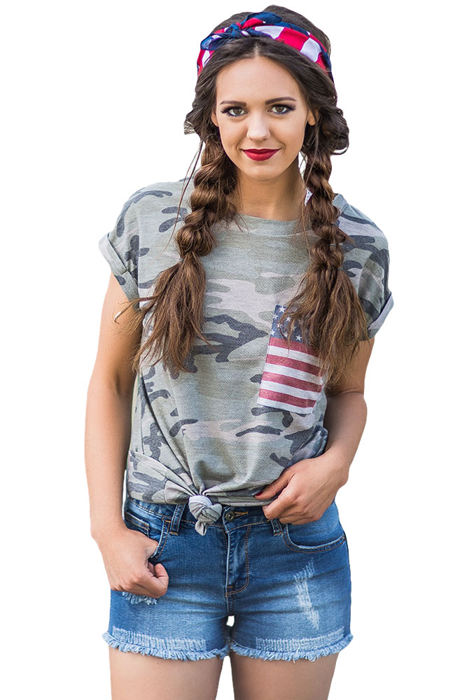 2017 New Arrival Summer Women's Casual O-Neck American Flag Pocket Grey Camo Shirt LC250189