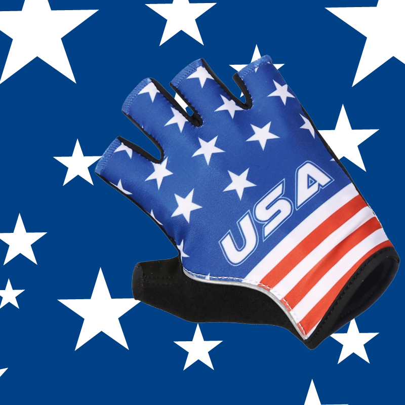 USA blue half finger cycling gloves/wholesale personalized mountain bicycle mittens/hand smart pro team racing gel bike gloves