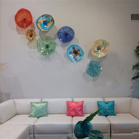 Sofa Television Wall Art 100% Hand Blown Murano Glass Plates Wall Art in Cluster Chihuly Style Home Decor Wall Plates-in LED Indoor Wall L&s from Lights ... & Sofa Television Wall Art 100% Hand Blown Murano Glass Plates Wall ...