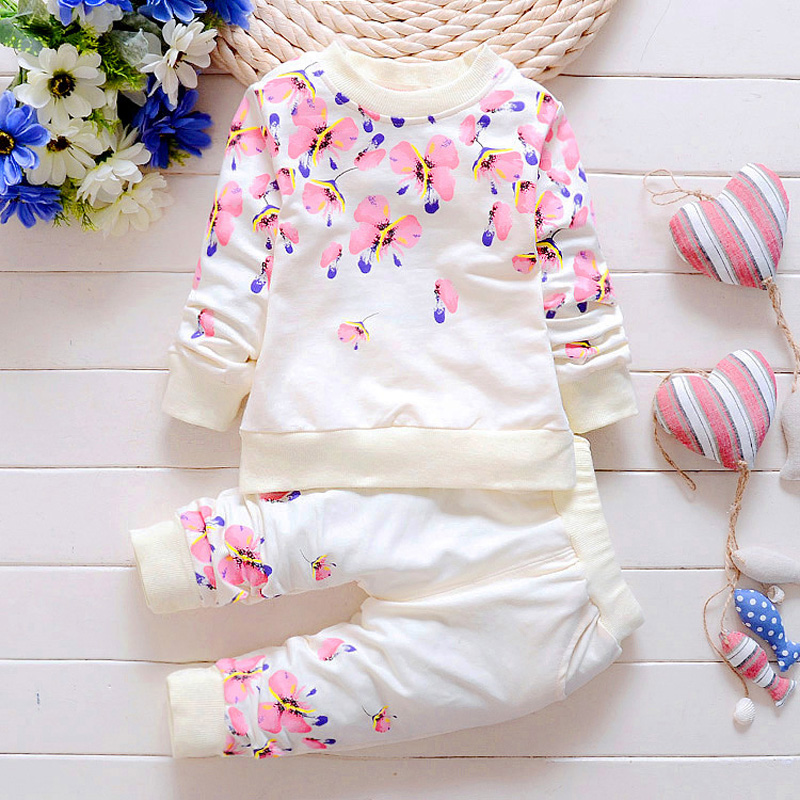 Baby Girl Clothing Sets Fashion Long Sleeve Print Flower Toddler Tshirt + Pants 2PCS 1 2 3 4 Years Kids Girls Wear girls clothing sets for baby kids hooded patchwork long sleeve zipper hoodies pants 2pcs toddler casual clothes 2 8 years old