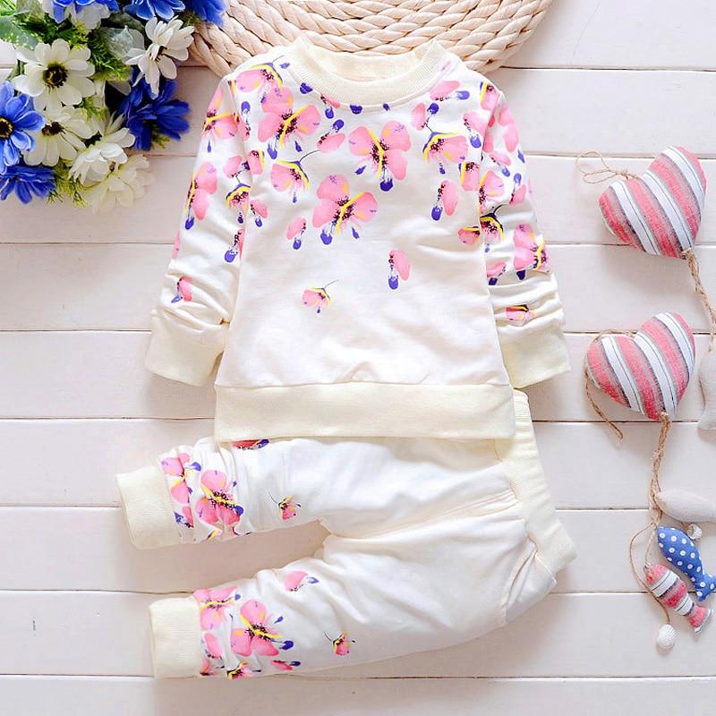 цена Baby Girl Clothing Sets Fashion Long Sleeve Print Flower Toddler Tshirt + Pants 2PCS 1 2 3 4 Years Kids Girls Wear в интернет-магазинах