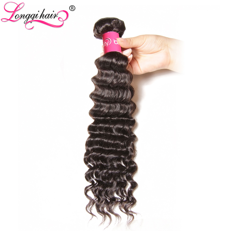 Longqi Hair Deep Wave Peruvian Hair Bundles Remy Human Hair Weave Natural Color 12 26 Inch