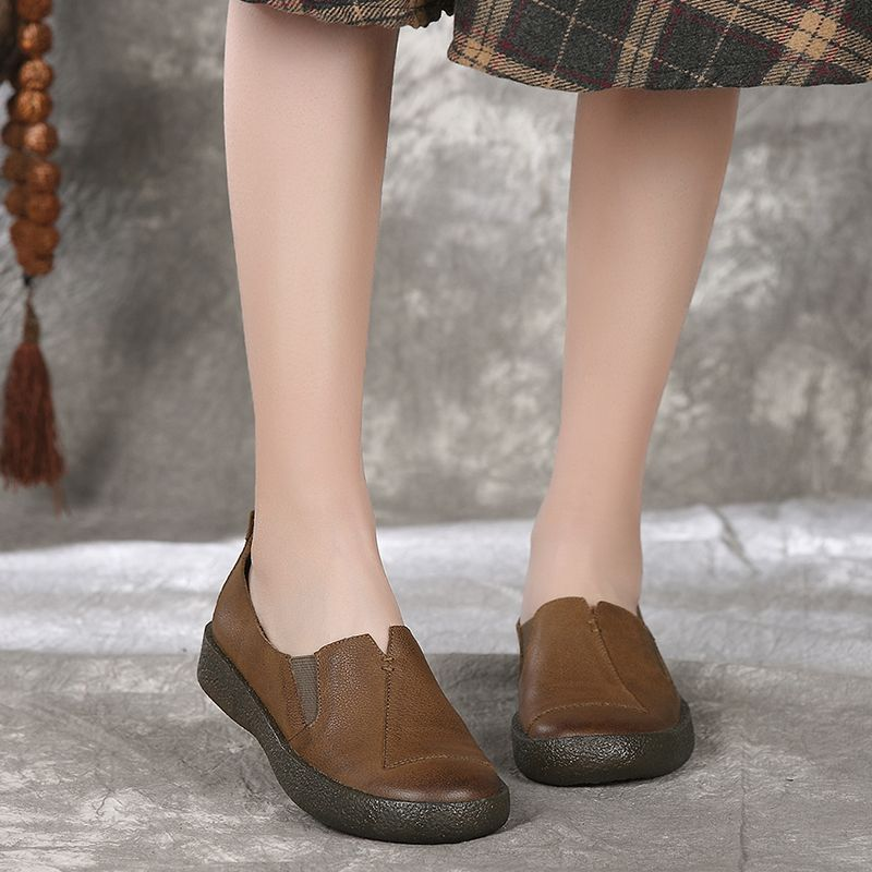 Femmes chocolat Cuir Chaussures Dame 2018 Rouge Femme Plat En Gykz De qpfxYZn