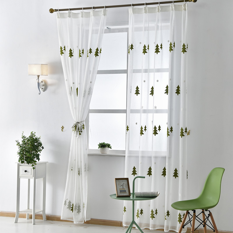 envo libre ventana de vida rbol de navidad blanco de lino bordadas modernas cortinas de voile
