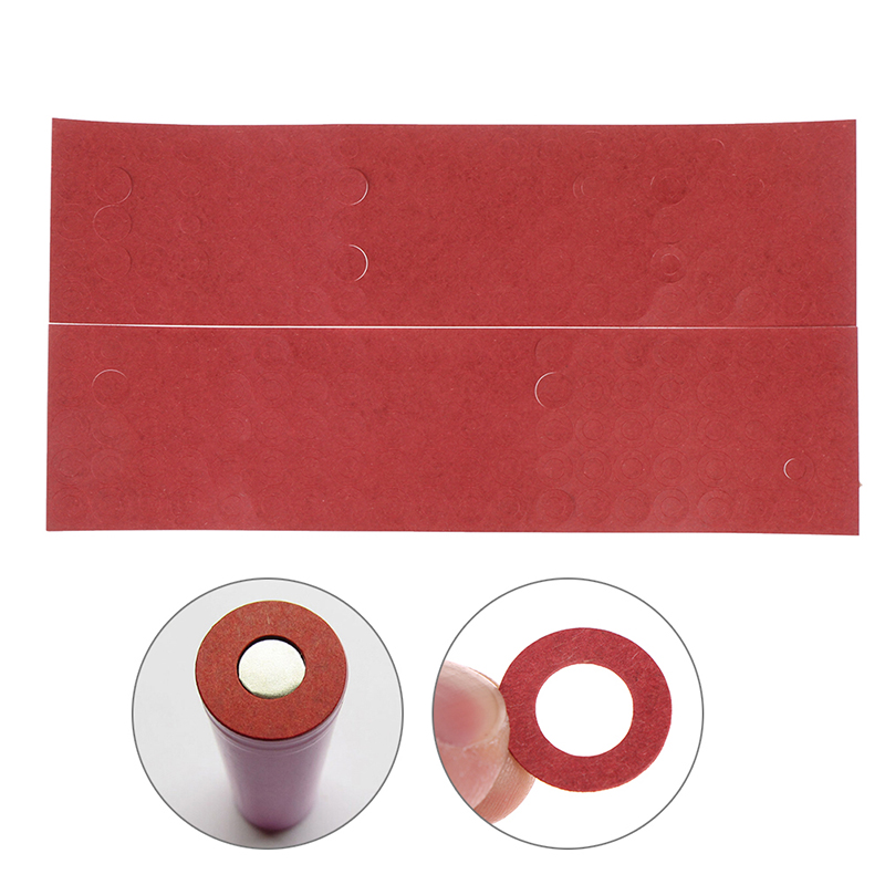 200pcs 18650 Battery Insulator Insulation Ring Adhesive Cardboard Paper Red