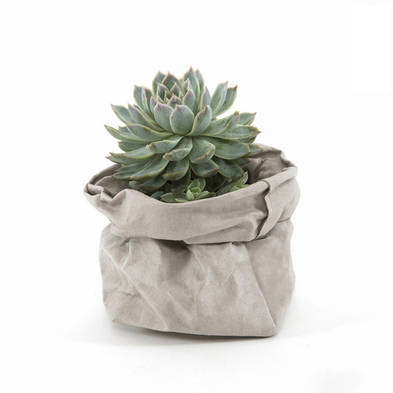 2018 Mini Succulents Kraft Paper Flower Pot Cover Washable Storage Bags Plants Flowerpot Bag Children Room Sundries Organizer
