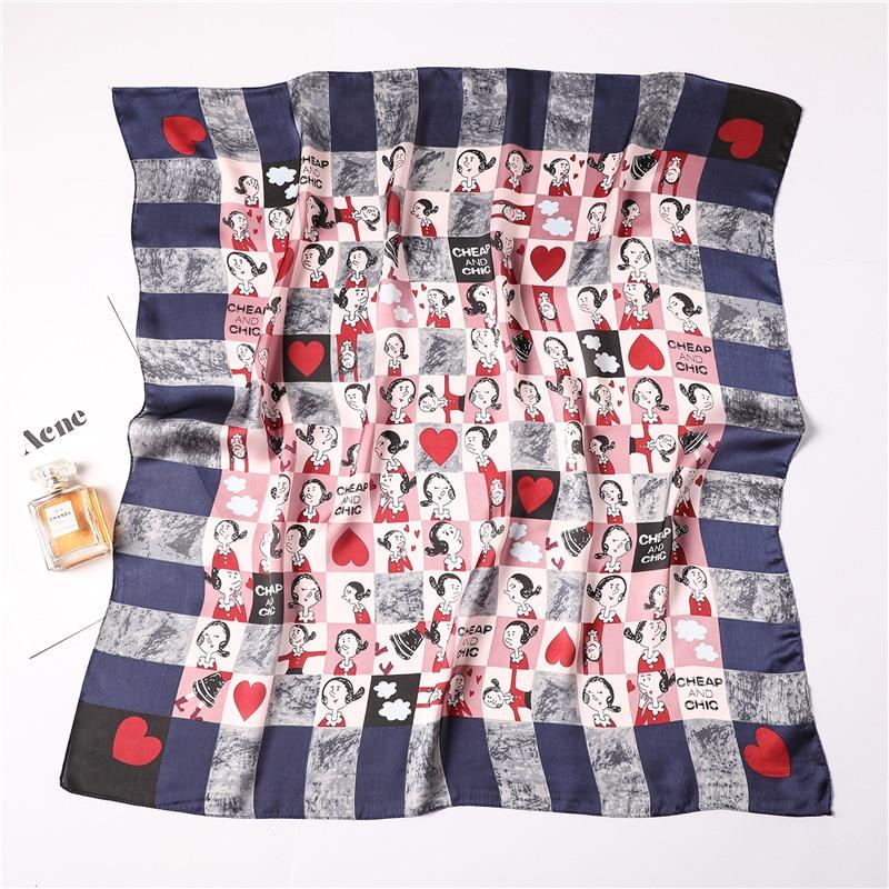 Women's Square Silk   Scarf   Ladies Print Summer Shawls and   Wraps   Female Small Office   Scarf   Foulard Headband Handkerchief 70*70CM