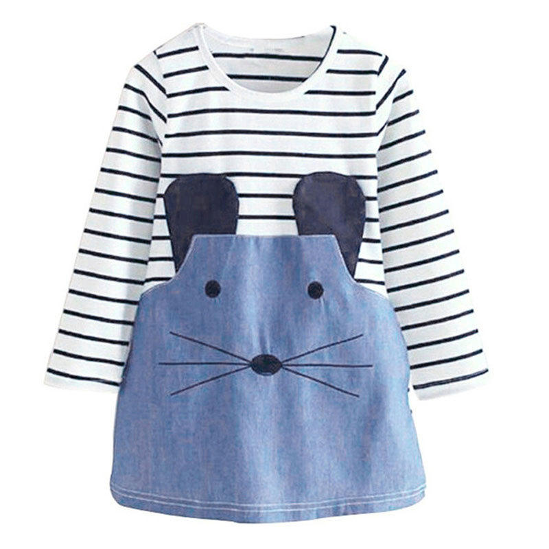 Striped Girl Dress Patchwork Girl Party Princess Dresses Cute Mouse Children Clothing Kids Denim Dress For Girls striped patchwork character girl dresses long sleeve cute mous kids clothing girls dress denim spring summer children clothes