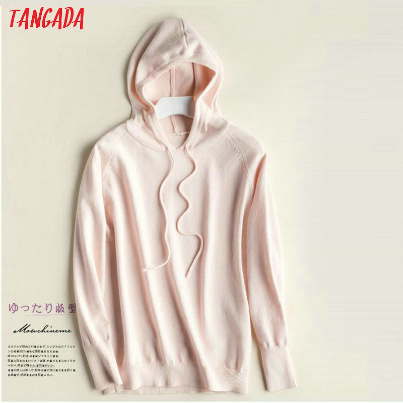 Tangada fashion woman solid hooded sweater female long sleeve korean chic soft jumpers sweater ladies pull femme AQJ01 21