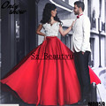 Nova Chegada 3D-Floral Apliques 2 Peça de Vestidos de Baile Para As Mulheres Árabe Off Ombro Cetim Vermelho Vestido de Noite Formal Vestido de 2016