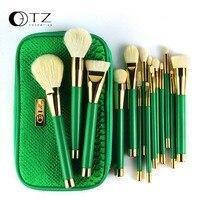 TZ Brand 15pcs Makeup Brushes Set Goat Hair Foundation Powder Blush Eyeshadow Brushes Green Makeup Brush