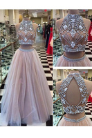 High Neck Sexy Two Piece Engagement Dresses Sleeveless Beading Evening Party Dress Open Back A Line