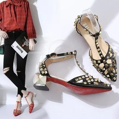 2018 Brand designer sandals rivet gladiator Red bottom women summer low Square heels shoes T type clasp2018 Brand designer sandals rivet gladiator Red bottom women summer low Square heels shoes T type clasp