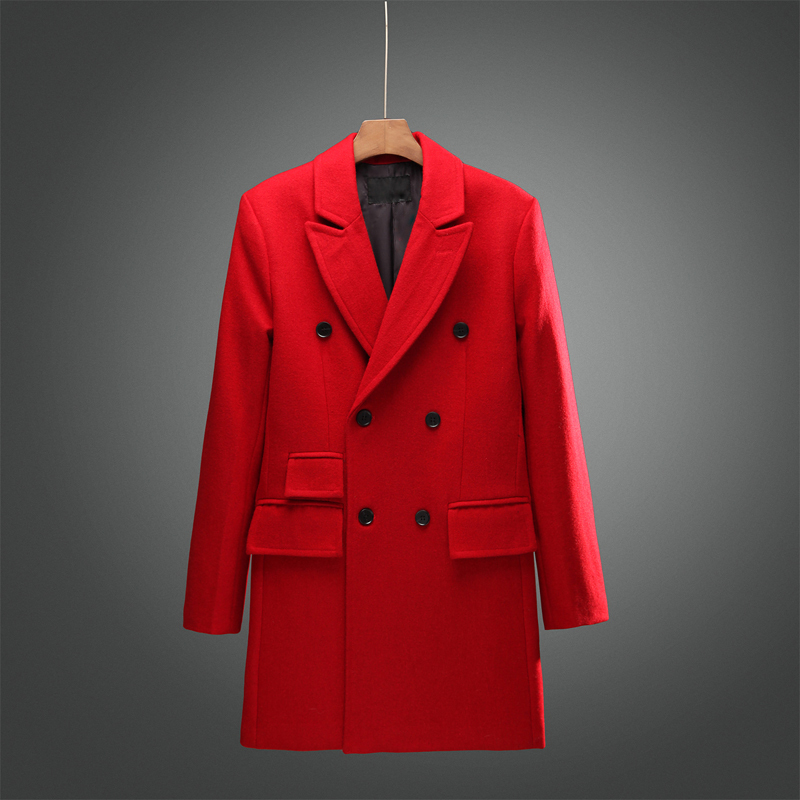 Top Fashion Men 39 S Red Woolen Blend Brand Long Trench Coat