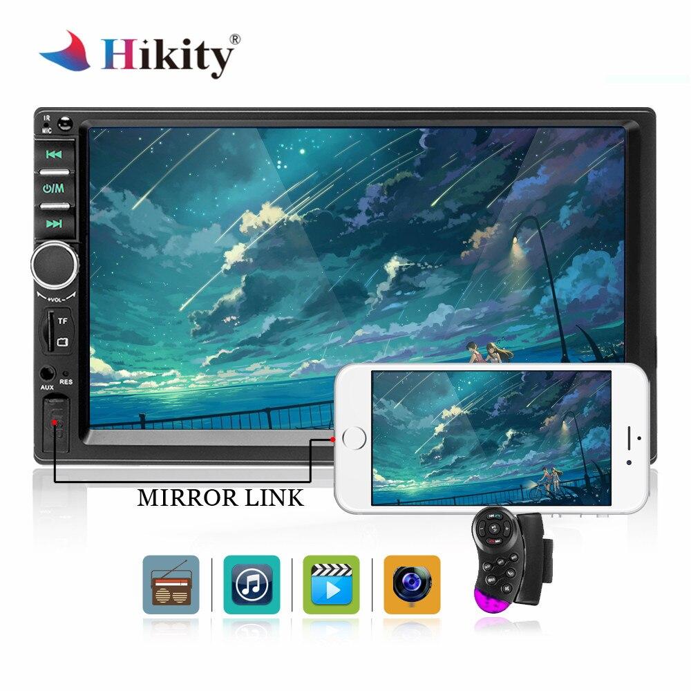 Hikity autoradio 2 Din LCD écran tactile lecteur multimédia Audio stéréo Bluetooth voiture Audio miroir-lien vue arrière caméra 7018B