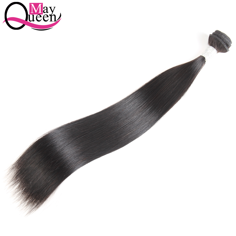 May Queen Indian Straight Hair Weave 1Pc Non Remy Hair Bundles 100% Human Hair Extensions Can Be Dyed No Shed Natural Color