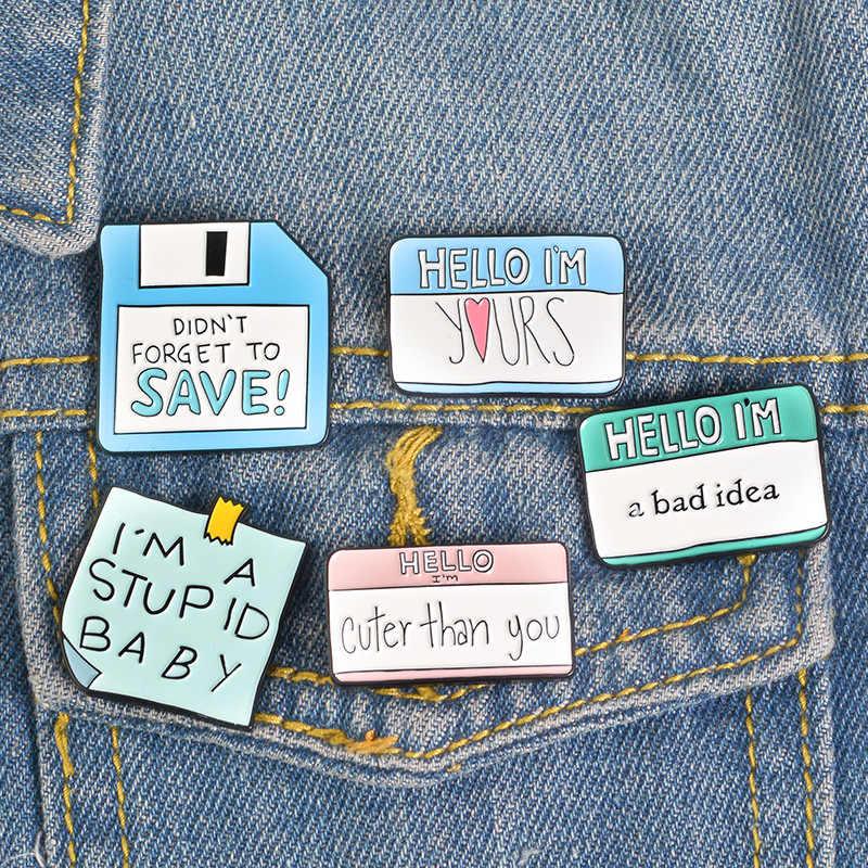 5 Gaya Kata-kata Yang Menarik Enamel Square Warna Bros untuk Tas Pakaian Jeans Kerah Lencana Kartun Perhiasan Hadiah untuk Teman