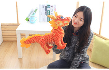 middle lovely plush chinese dragon toy  tranditional red Chinese dragondoll gift about 60cm
