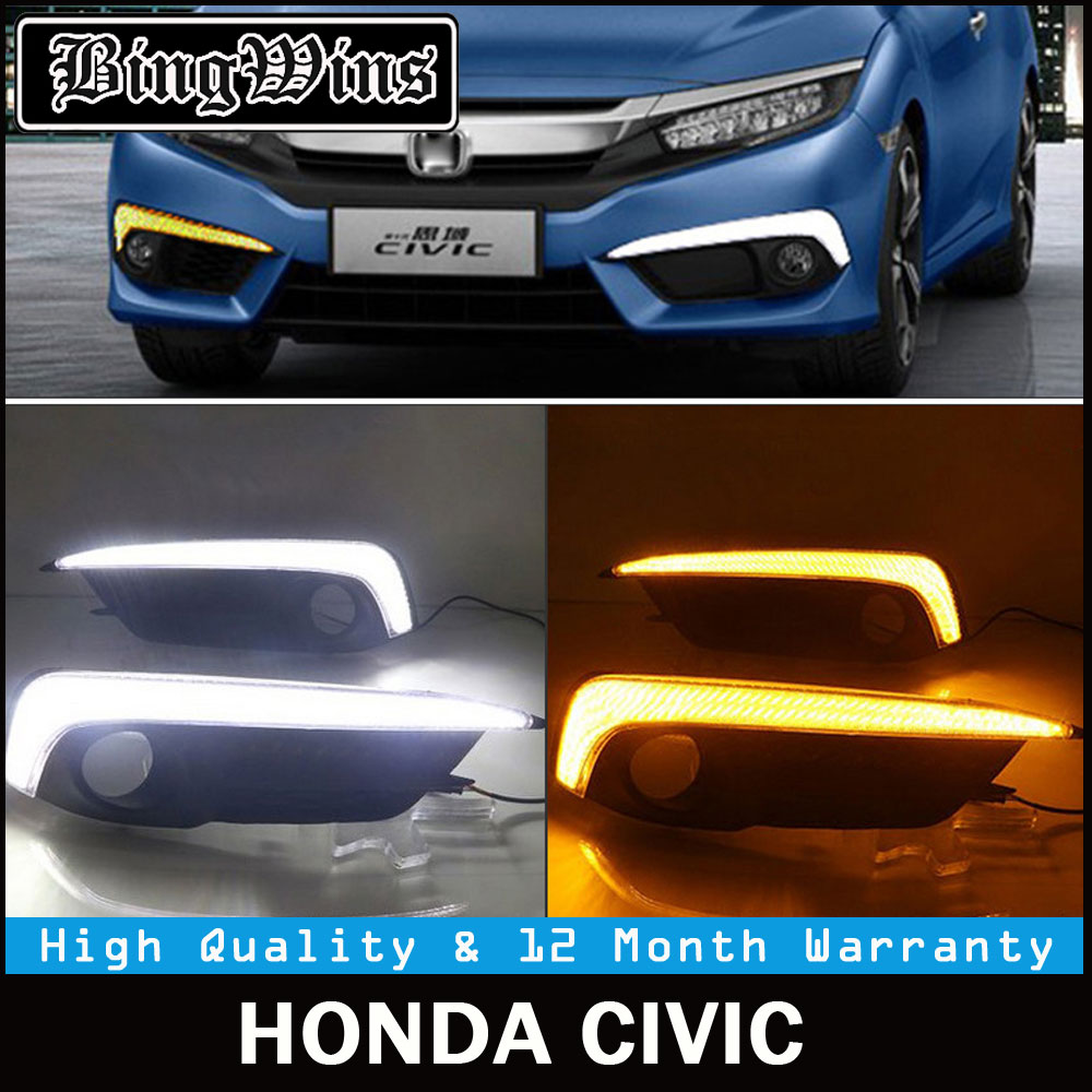 Turning Signal Light Bar Style Car LED DRL Daytime Running Lights Accessories with Fog Lamp hole For Honda Civic 10th 2016 2017
