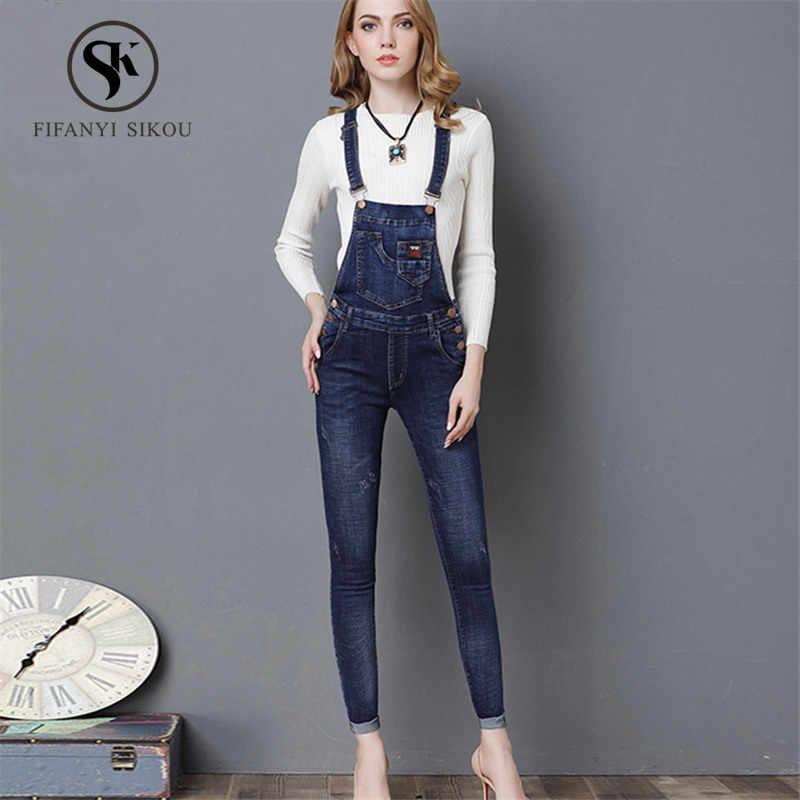 2019 весна лето новый джинсовые комбинезон женщин модные повседневные джинсы-карандаши без рукавов Комбинезоны женские Комбинезоны облегающие комбинезоны