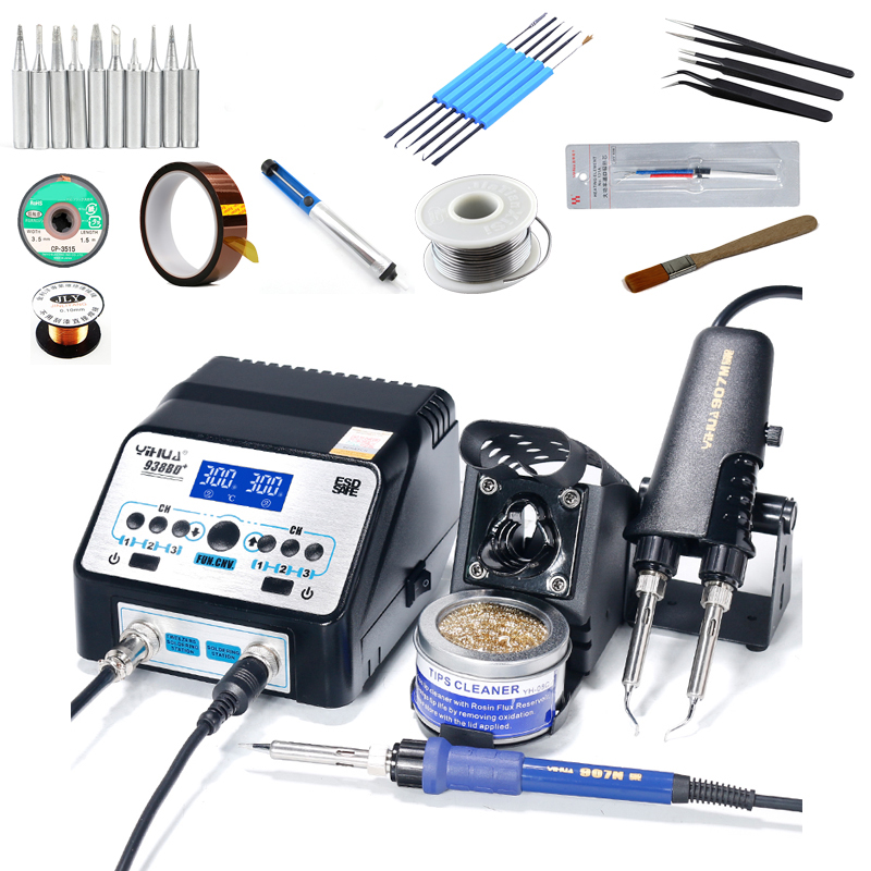 YIHUA 938BD+ Double Soldering Iron Station Electric Tweezers Soldering Irons Dual Digital Display ESD Welding Reword Station