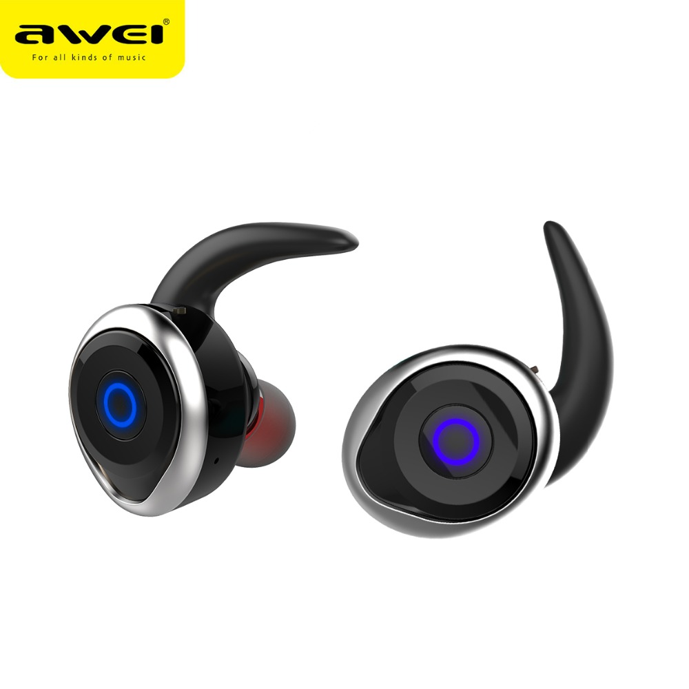 AWEI T1 TWS vero Auricolari Senza Fili mini handfree Auricolari Bluetooth di Sport Impermeabile Cuffie Bluetooth Con Microfono Auricolari