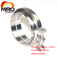 1 Set 5'' 133MM OD Sanitary Pipe Weld Ferrule + Tri Clamp + Silicone Gasket Stainless Steel SS304 SWT 133
