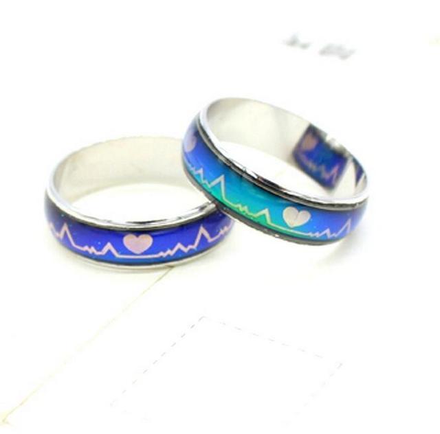 7b0ff765f7ffc ECG corazón anillo de humor cambiante color de 100 piezas anillos mood  cambio de color anillo
