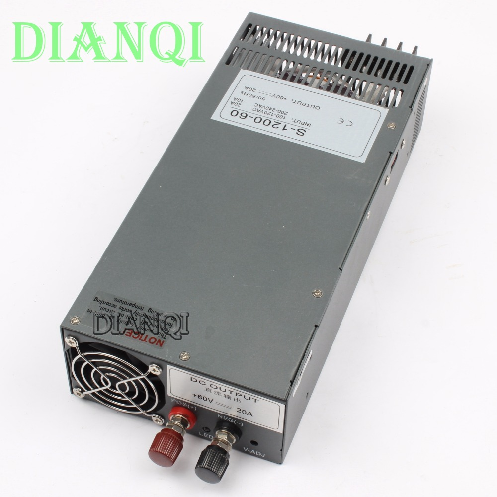 цена на 1200W 60V 20A Switching power supply for LED Strip light power suply input 110v or 220v 1200w ac to dc power supply s-1200-60