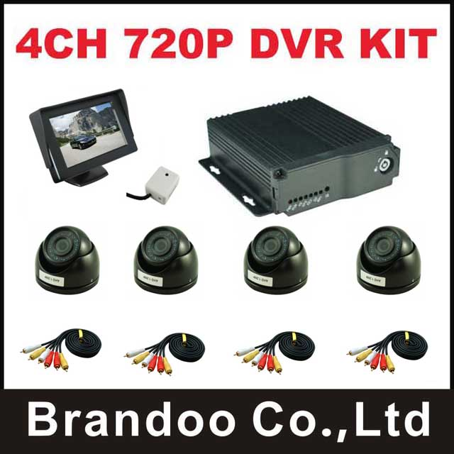 Mini 720P 4channel mobile car DVR + 4pcs mini AHD dome camera for truck bus tank taxi use