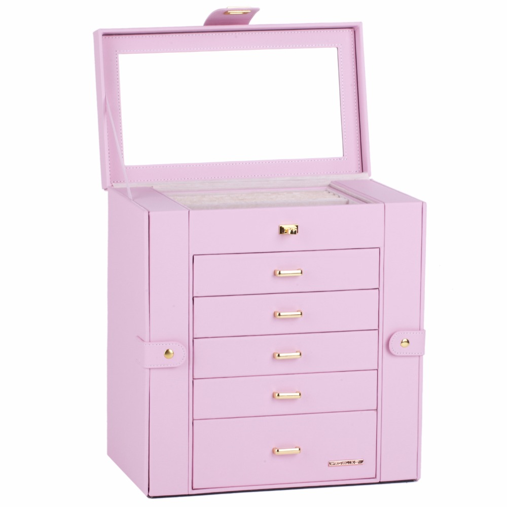 Large Jewelry Box For Girls Display Organizer Jewellery Packaging Wedding Gift Velvet Earing Necklaces Rings Pink PU Leather BoxLarge Jewelry Box For Girls Display Organizer Jewellery Packaging Wedding Gift Velvet Earing Necklaces Rings Pink PU Leather Box
