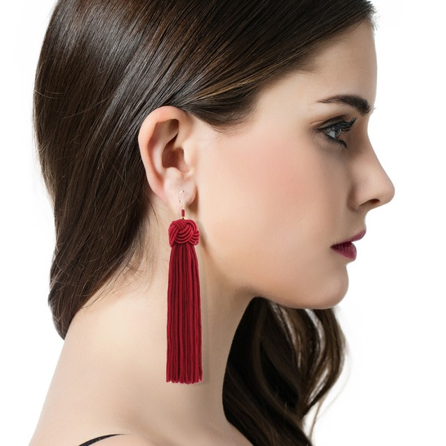 New Braided Tassel Earrings Fashion Brand Yellow Black Red Fringes Gold Drop Earrings brincos de gota feminino Hanging Earring