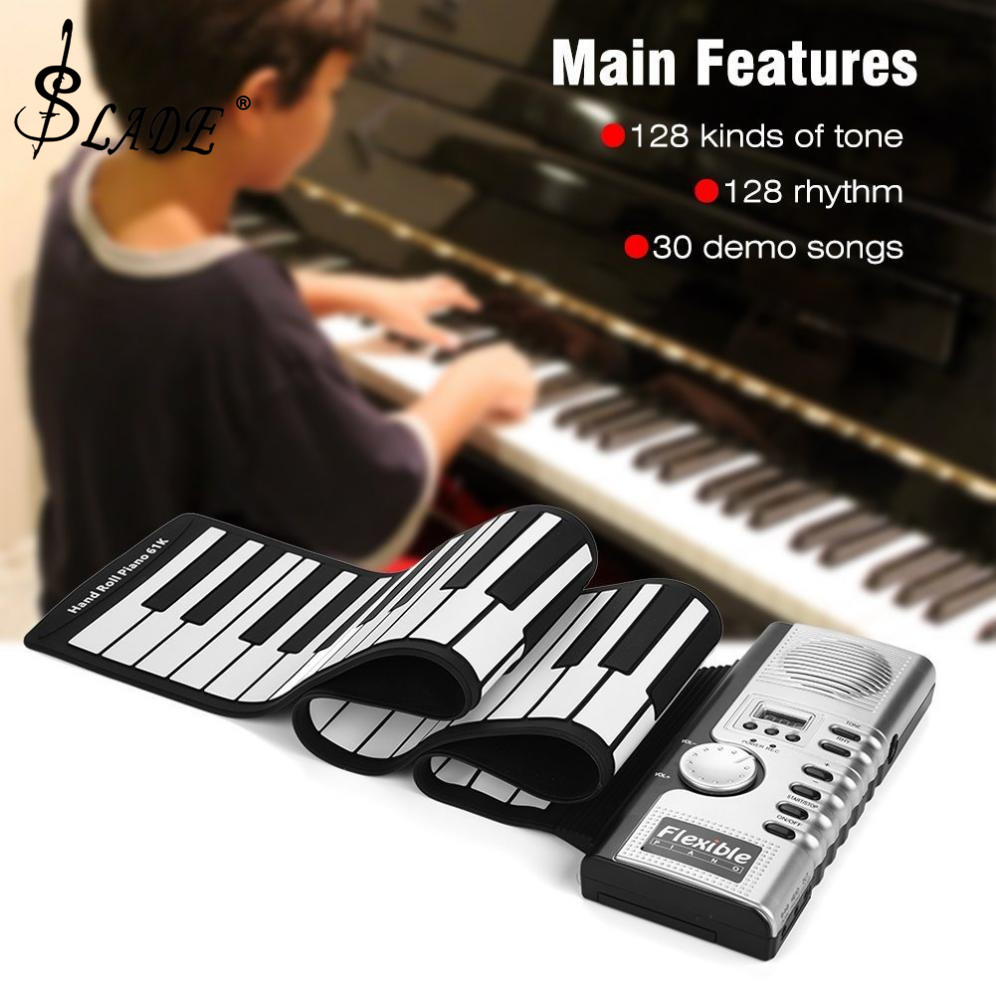 Slade 61 Keys Electronic Portable Silicone Flexible Hand Roll Up Piano Built-in Speaker MIDI Out Keyboard Organ
