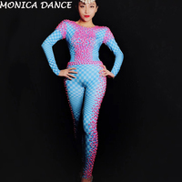 Sexy Pink Pearls Stones Blue Plaid Spandex Jumpsuit Nightclub Birthday Party Leggings Female Singer Dancer Bodysuit Costume