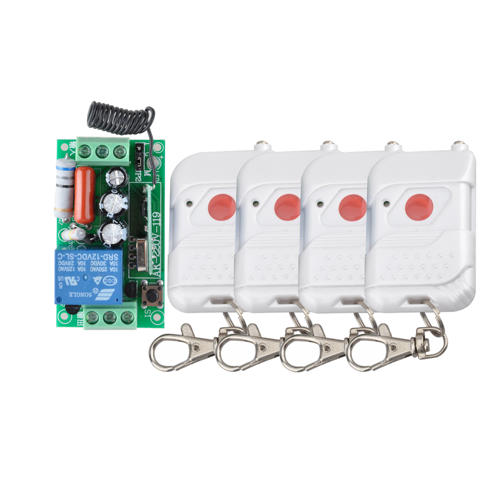 AC 220V 1CH 10A RF Wireless Remote Control Lighting Switch Light Lamp LED SMD ON OFF Learning Code Receiver 433.92Mhz ac 220v 30a 1ch rf wireless remote control switch set 1 receiver 4 transmitter on off fixed code for light lamp sku 5332